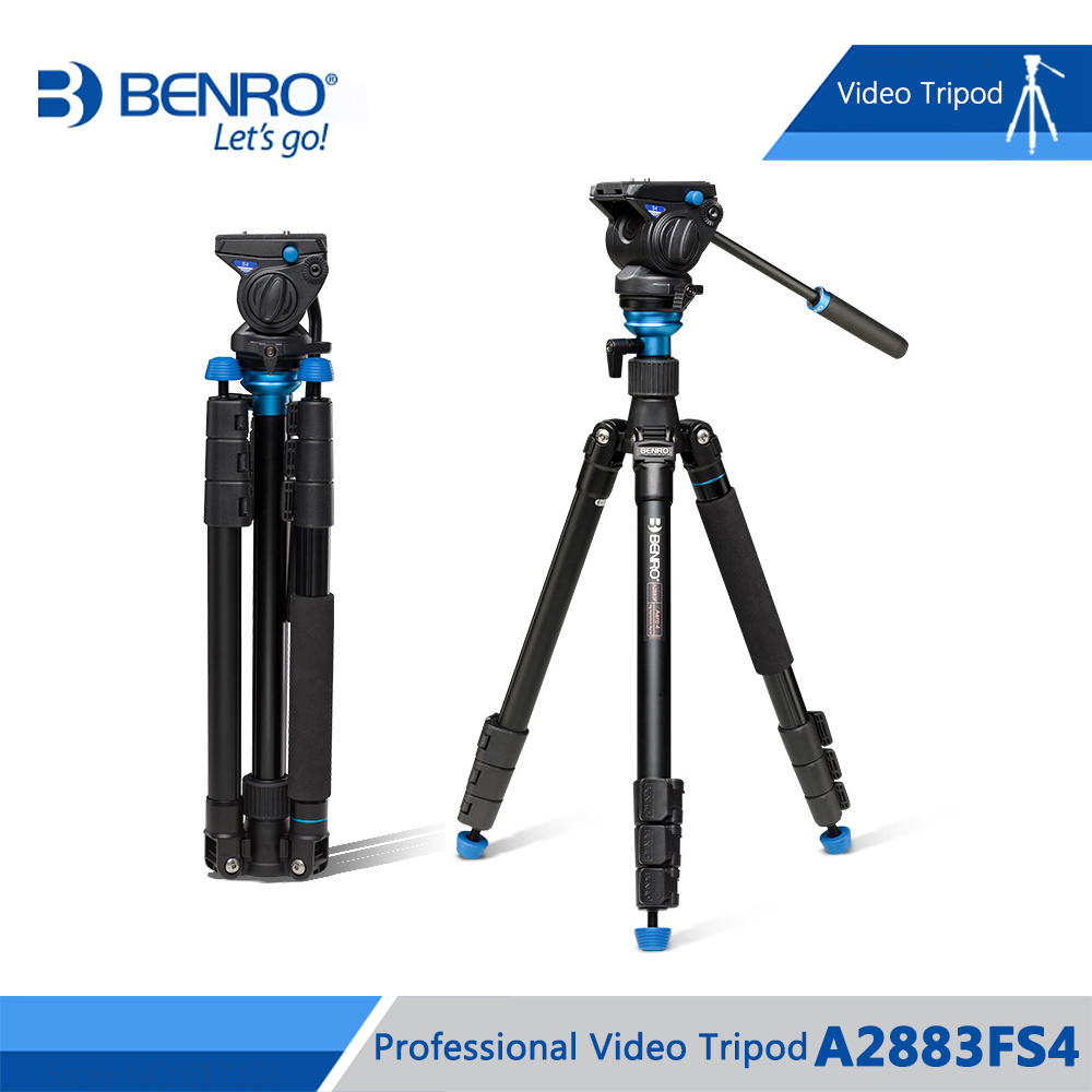 Benro A2883FS4 Video Tripod Professional Aluminum Camera Tripods S4 Hydraulic Head Max Loading 4kg DHL Free Shipping