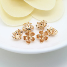 6PCS 7x9MM 24K Champagne Gold Color Plated Brass Plum Flower Charms High Quality Diy Jewelry Accessories lanmi 7x9mm 14kt wp10b