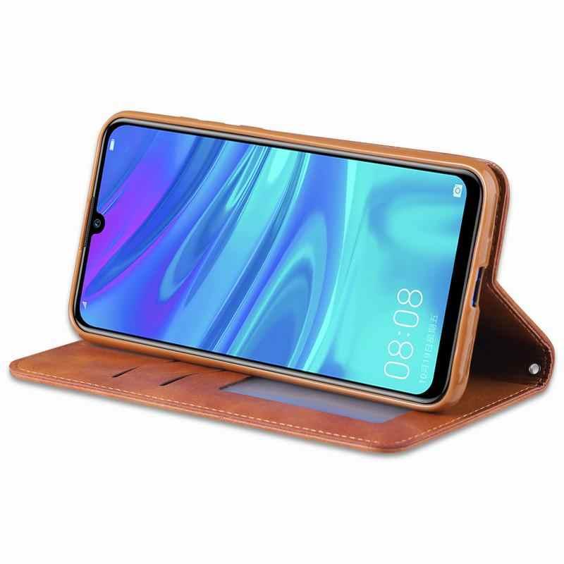 Caso della copertura Per Huawei Y5 Y6 Y7 Y9 2019 di Lusso di Vibrazione Magnetica Del Raccoglitore Dell'annata di Custodie Del Cuoio Del Telefono Per Huawei Y6 2019 Y 5 7 9 Coque