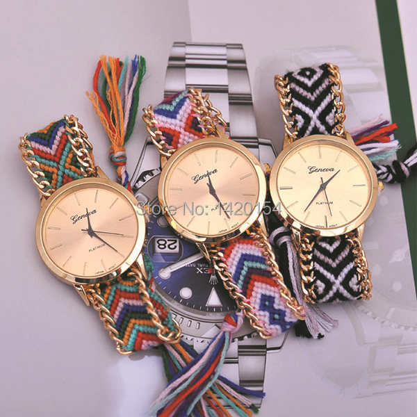 watch women braid alloy thread flower knitting geneva bracelet wrist quality item dhl weave dial watches top