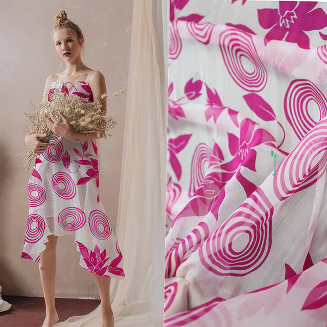 8c31888500 A New Cool and Air-permeable Silk Mulberry Dress and Scarf with Pink Big  Wave Point Clothing Fabric in Summer Ultra-thin Beach S