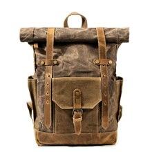 MUCHUAN, винтажный кожаный рюкзак с масляным воском, вместительный, для подростков, для путешествий, водонепроницаемый рюкзак, 14 дюймов, для ноутбуков, рюкзак