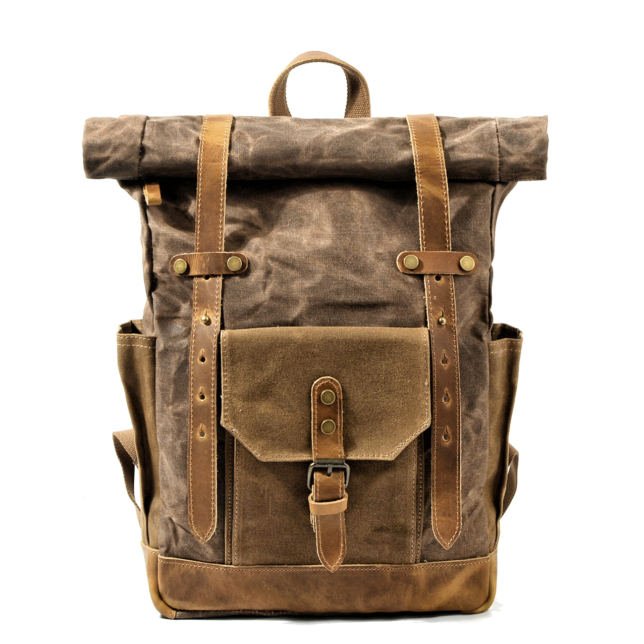 MUCHUAN Vintage Oil Waxed Canvas Leather Backpack Large Capacity Teenager Traveling Waterproof Daypacks 14