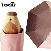 Wulekue Hand Carved Wooden Cute Animal Windproof Rain And Parasol Folding Women Umbrella