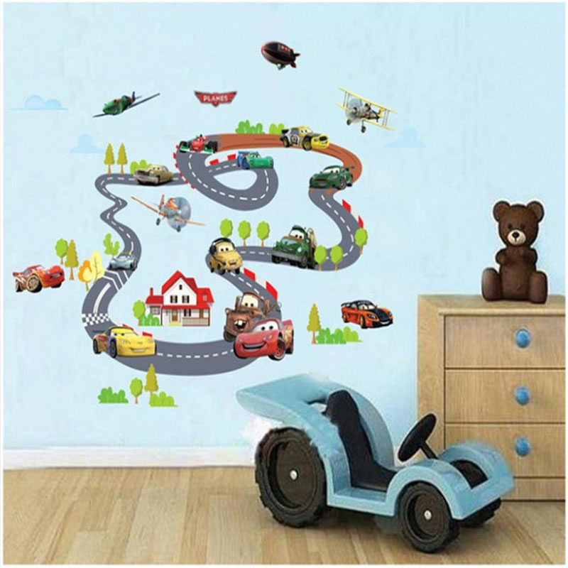 Cartoon Cars Highway Track Wall Stickers For Kids Rooms Muurs