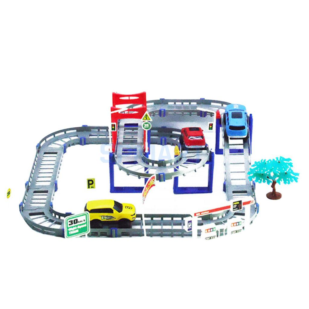 Electric Rail Car Spiral Track Model Educational Kids DIY Toy Playset 68pcs