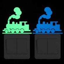 Etiqueta engomada del interruptor del tren que brilla en la oscuridad pegatina del coche del ferrocarril para la habitación de los niños DIY decoración del patrón del tráfico calcomanías de la decoración
