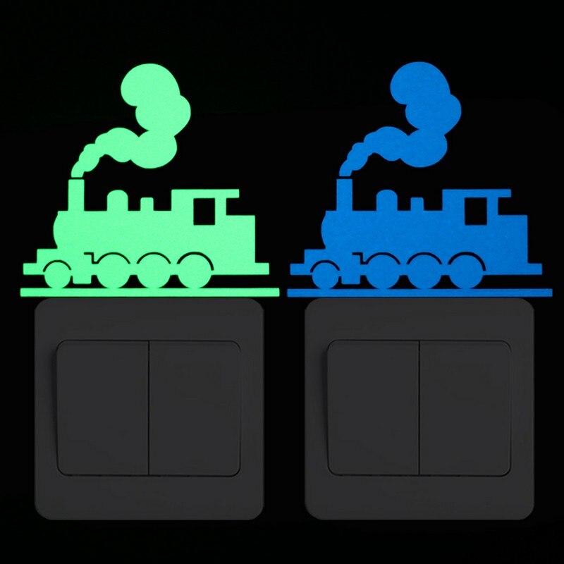 Train Switch Sticker Glow in the Dark Railway Car Sticker for Kids Room DIY Decoration Traffic Pattern Decoration Sticker Decals