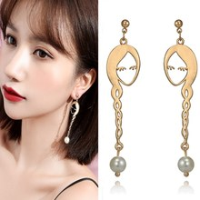 1e13202ad EK260 Unique Simple Metal Fashion Abstract Hollow Out Face Dangle Earrings  Girls Trendy Pearl Statement Drop