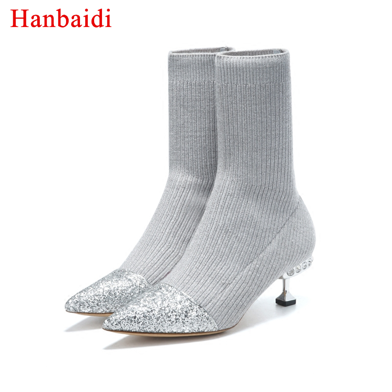 Hanbaidi Bling bling sequin kitten Heel Knitted Ankle Boots for women rhinestone Stretch Short boots shiny crystal sock boots