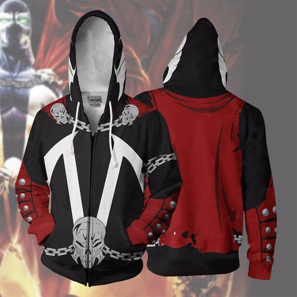 2019 New Men Hooded Spawn 3D Printed Hoodies  Tracksuit Zipper Hoodie Hooded  Hip Hop Tops Spawn Zip Up Hoodie