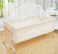 Pine wood crib multifunctional environmental protection paint children cradle newborn baby bed with mosquito With wheels HC1001