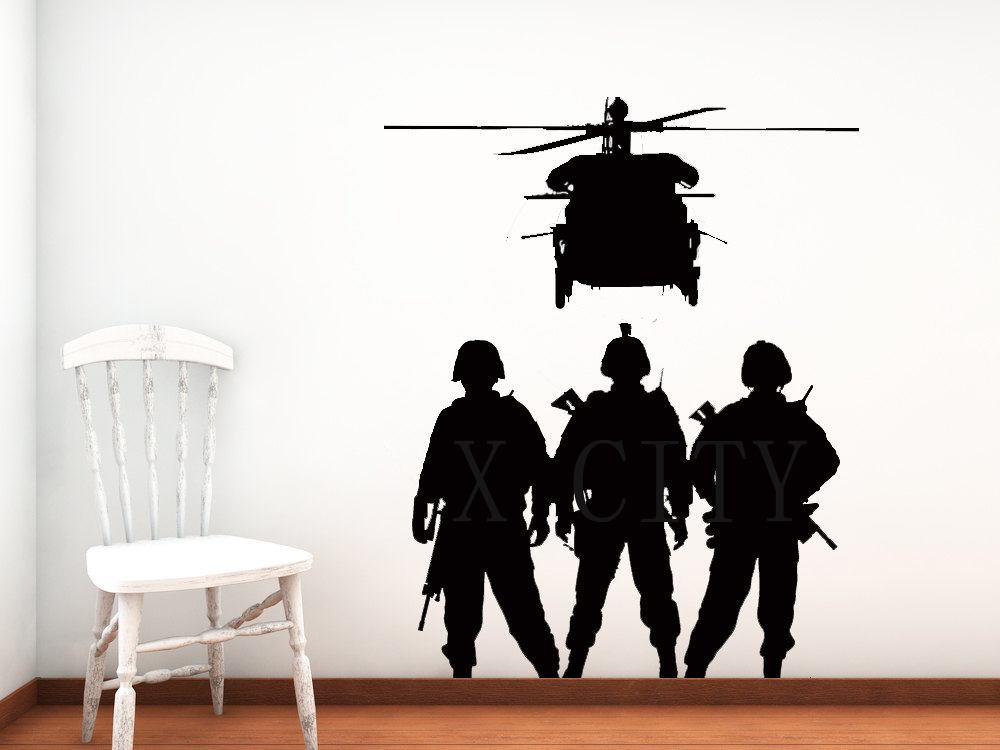 Cool Military Troops Chopper Army Airforce Silhouette WALL ART STICKER VINYL DECAL DIE CUT ROOM STENCIL MURAL HOME DECOR