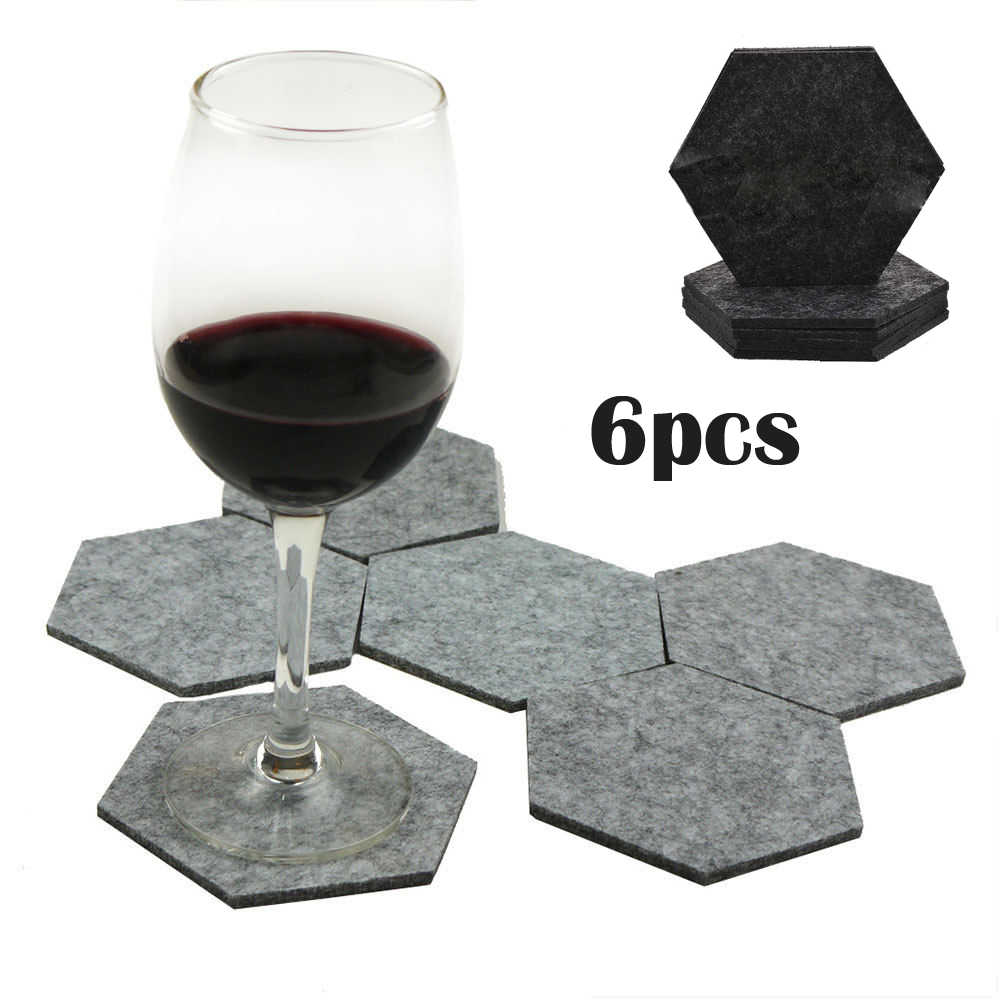 6Pcs/set Gray Felt Fabric Creative Hexagon Cup Mat Handmade Drink Cup Coasters Beer Coffee Placemat Home Table Decoration
