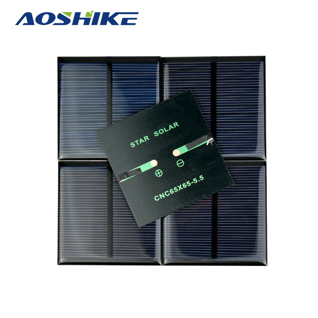 Aoshike 5PCS X 0.6W 5.5V 90mA 0.5w 5V polycrystalline solar Panel small solar cell PV module for mobile phone battery charger