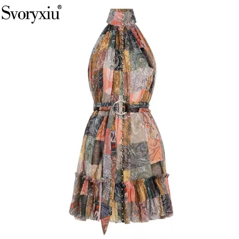 Svoryxiu Holiday Style Sexy Off Shoulder Ruffles Mini Dress Women s Vintage Printed Casual Beach Party