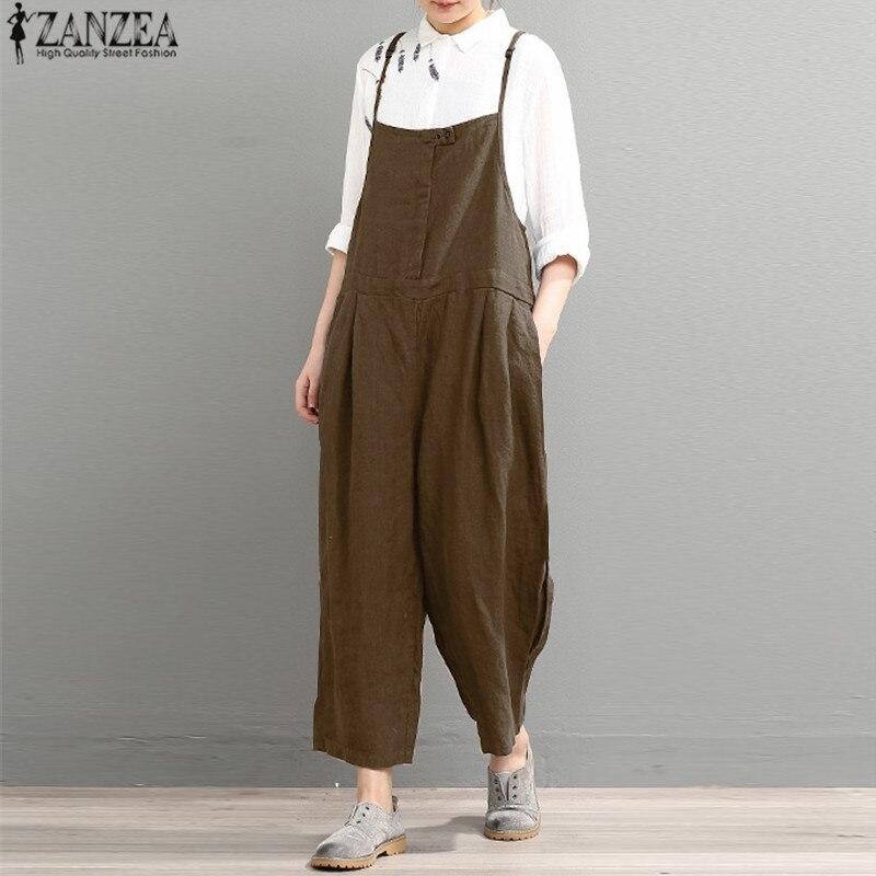 2018 ZANZEA Summer Rompers Women Jumpsuit Casual Long Trouser Loose Bodysuit Overalls Female Strapless Playsuits Plus Size 5XL