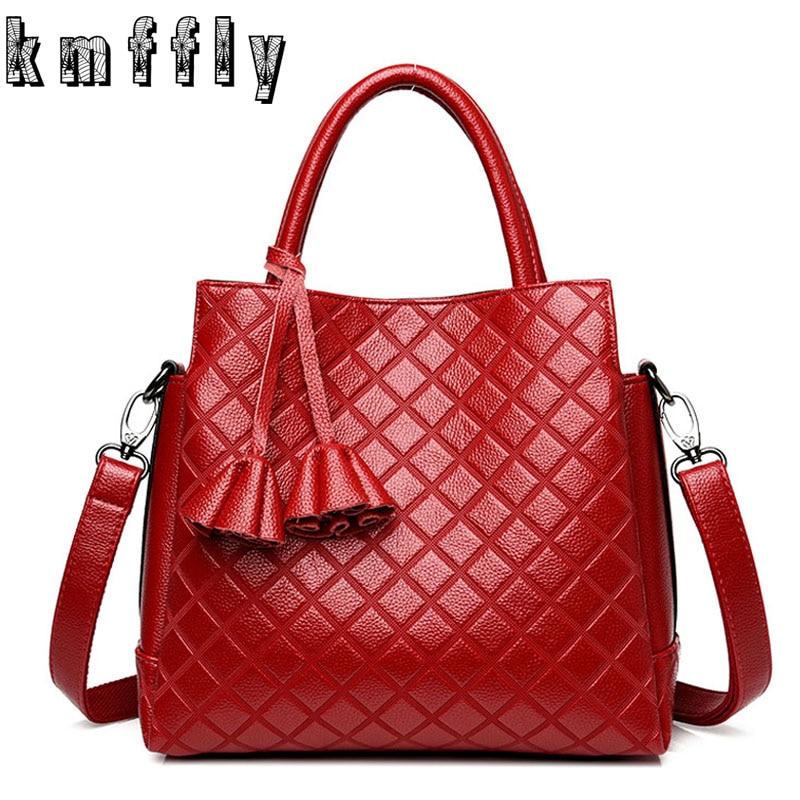 KMFFLY 2018 Fashion Flower Genuine Leather Bags Sac A Main Luxury Women Bag Top-handle Handbag Solid Shoulder Messenger Bags