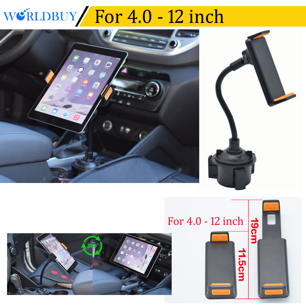WORLDBUY Universal 360 Rotating Auto water Cup Phone tablet holder bracket Mount Stand For Galaxy tab iphone X 5S 6S 7 8 plus ...