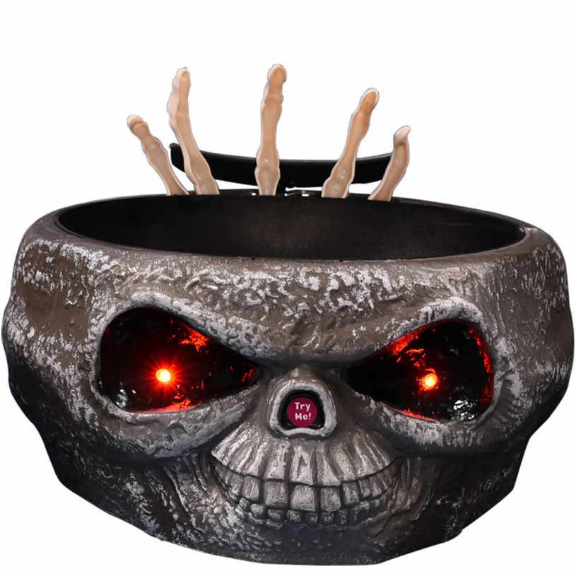 Halloween Dekorasi Listrik Horor Alat Peraga Mainan Permen Organizer dengan Melompat Tengkorak Tangan Pesta Horor Perlengkapan Permen Buah Mangkuk
