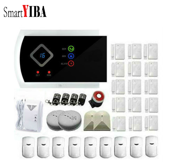 SmartYIBA APP Control Alarm System Security Home Smoke Detector Gas Alarm Glass Break Sensor SIM Smart Home Burgular Alarm Kits gzgmet sensor alarm window door glass break detector durabe white wired home security system sensor