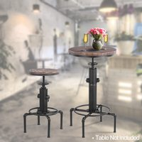 iKayaa Metal Industrial Bar Stool Height Adjustable Swivel Pinewood Top Dining Chair Coffee Chair Pipe Style Bar Stool