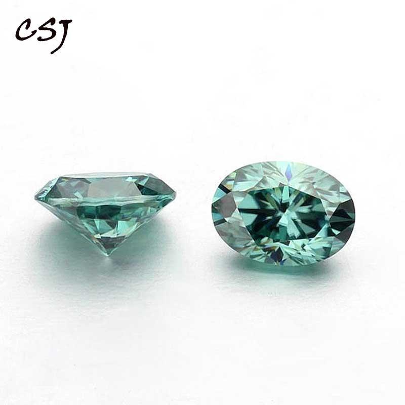 CSJ Moissanite Oval Cut Light Green Color Loose Gemstone Moissanite Stone For Ring Making Women Past Diamond Tester Certified