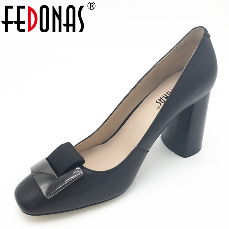 FEDONAS New Fashion Genuine Leather Women High Heels Pumps Shoes Square Toe Office Lady Sexy Shoes Woman Casual Shoes