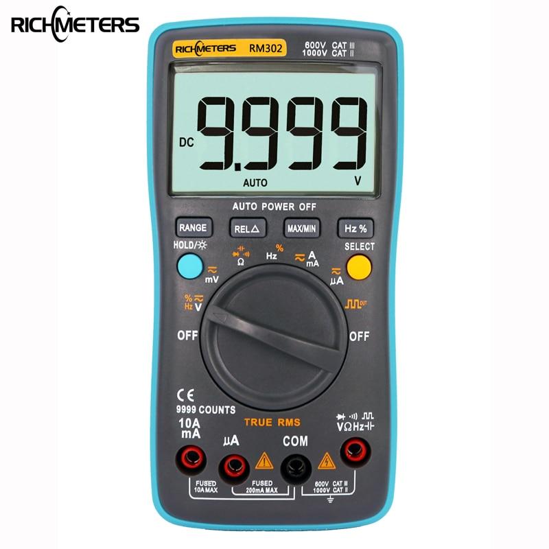 RICHMETERS RM302 Digital Multimeter 9999 counts True-RMS Square Wave Test tool AC DC Voltage Ammeter Current Ohm