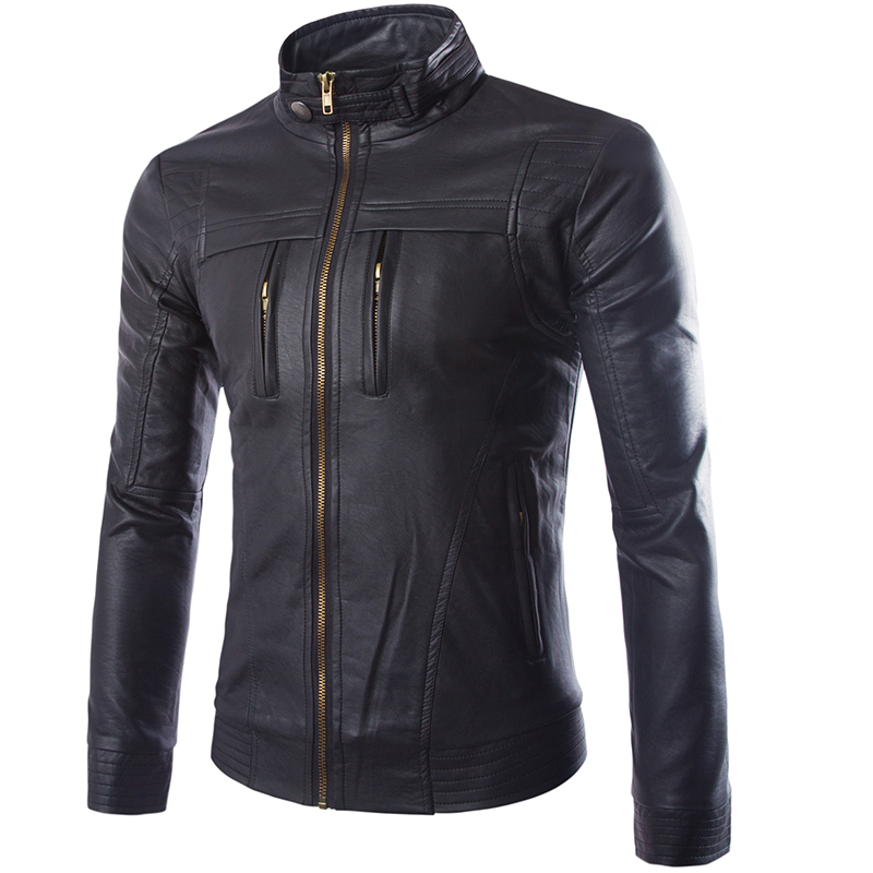 2016 printemps mode décontracté en cuir veste col, bonne qualité hommes marque en cuir veste, en cuir hommes grands yards, M-3XL 4XL