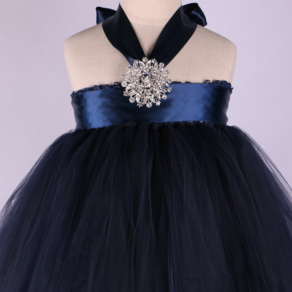 Cream Whitenavy Blue Flower Girl Dress With Diamond Elegant