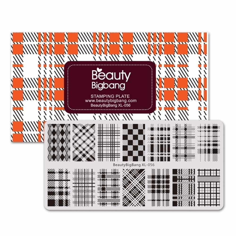 BeautyBigBang штамповочные пластины для ногтей геометрические Полосатые сетки блок шаблон формы наклейки для ногтей штамповочная пластина XL-056