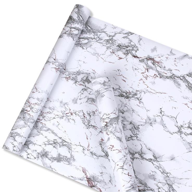 Imitation White Marble Sticker Waterproof PVC Self-adhesive Wallpaper Furniture Renovation Stickers Home Decor Film