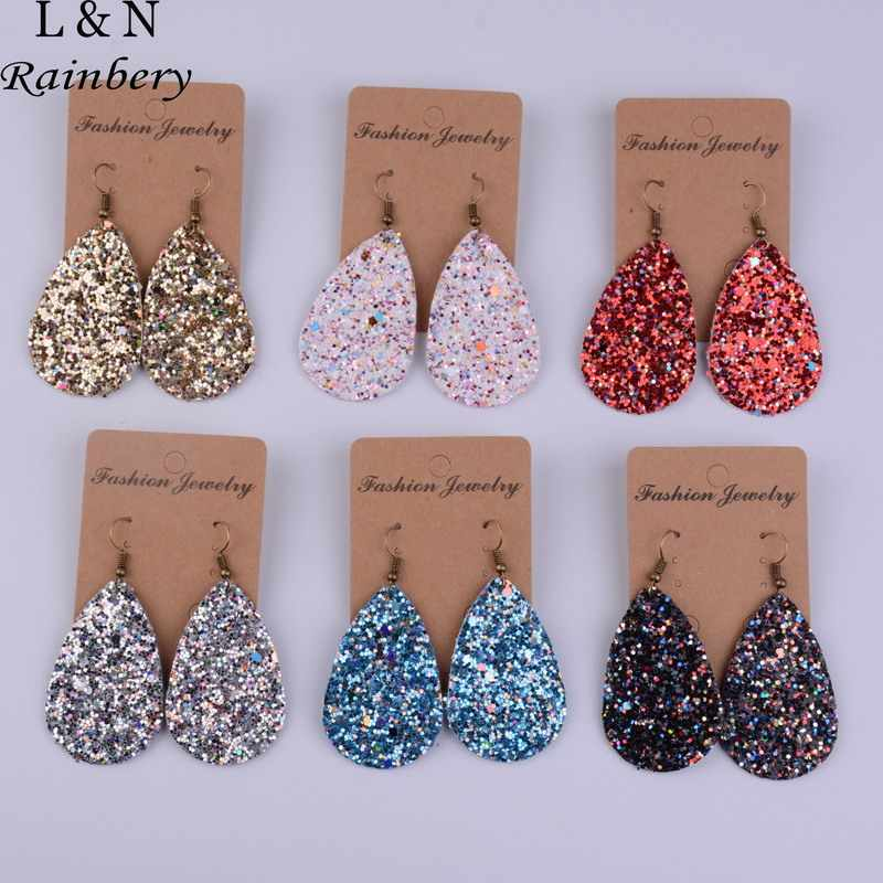 Rainbery Teardrop PU Leather Earrings Sequins Looking Various Looking Various MultiColors Bohemia Water Drop Earring JE0656