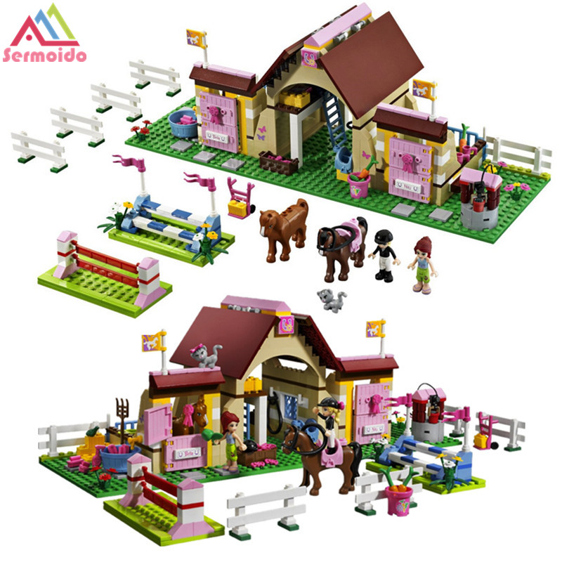 sermoido 10163 Friends 400pcs HeartLake Stables Mary 's farmhouse Horse Good Girls Building Blocks Bricks Animals Toys Gift B114 2017 new friends heartlake stables girls mia s farm building blocks 383pcs set bricks toys compatible with lego gift kid set