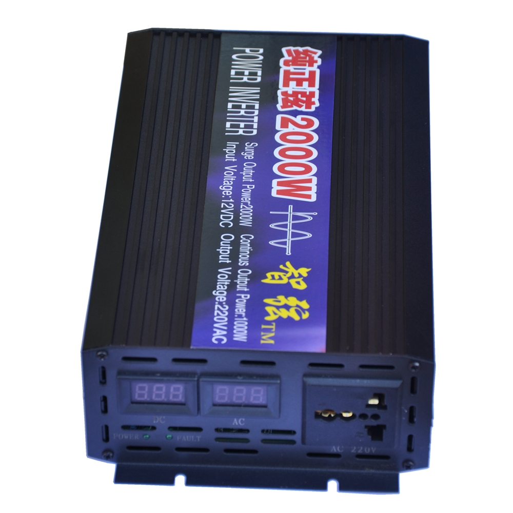 Peak 2000W Pure Sine Wave OFF Grid DC/AC Inverter Dual LED Display DC12V/24V to AC220V 50HZ/60HZ Power Inverter for Solar System 2000w pure sine wave power inverter off grid dc 12v to ac 220v 50hz for solar system