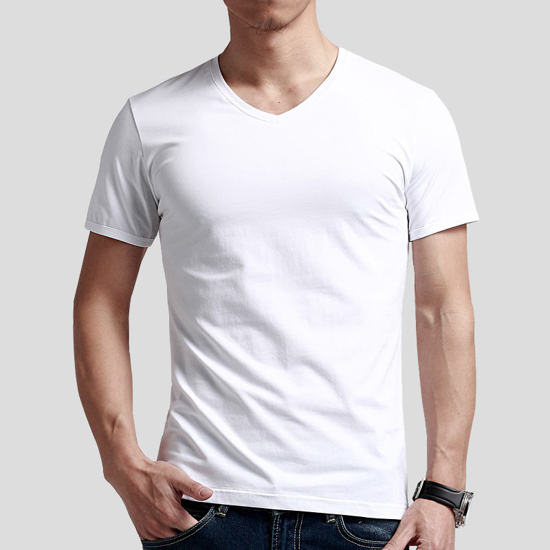 Popular Mens T Shirts Short Sleeve V Neck Black White Mens