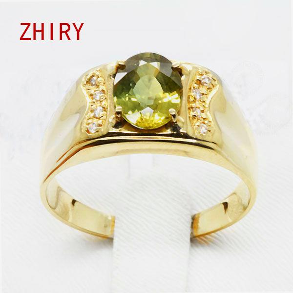 Man 18K gold Natural yellow sapphire ring Gemstone 1.4 ct Men Jewelry rings jinhui 18k 750 0 05 ct jh bs1380
