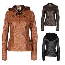 2016 Fashion Women's Spring Autumn Casual Slim PU Leather Jackets Removable Hooded Zipper Windbreak Warm Jakcet Coats Plus Size