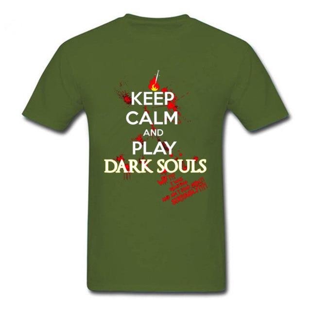 2018 Hot Summer keep calm dark souls t shirt console game fans tee shirts keep calm and play dark souls men crew neck t shirt 4