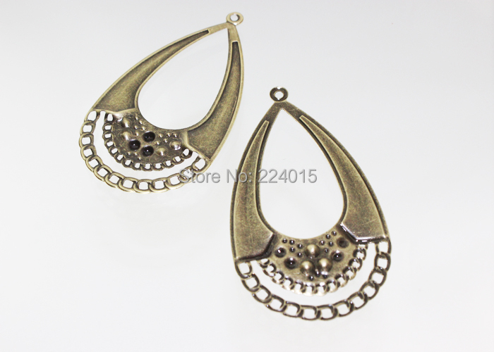 Retro Pendant Earring Making Ancient Fashion Jewelry Metal Finding Waterdrop Filigree Wraps Connectors For in Jewelry Findings Components from Jewelry Accessories