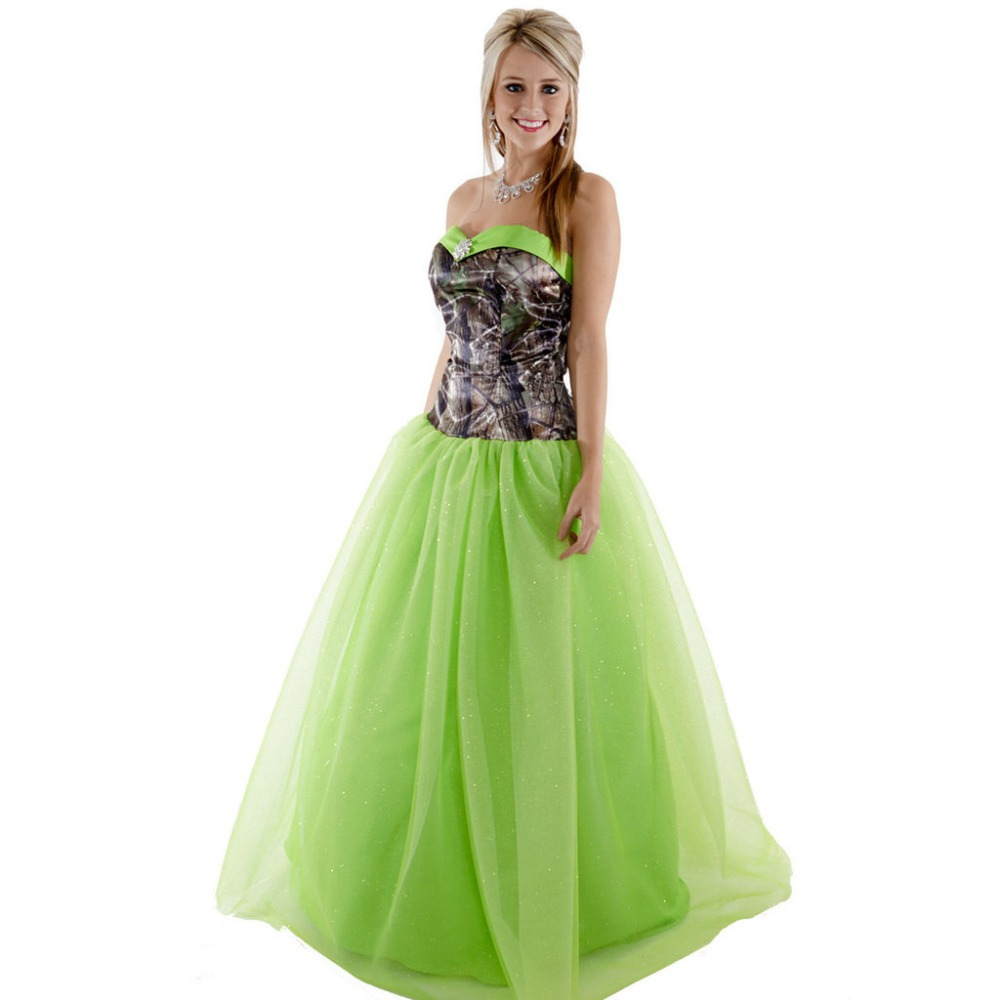 Camo Green prom dresses pictures