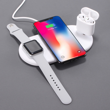 3 in 1 Qi Wireless Charger Plate For iPhone XR XS Max 8 Plus Apple Watch Airpods Fast Charging Mat For Samsung Note9 S9  S10Plus