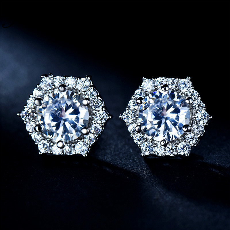 JUNXIN Female Crystal Hexagon Stud Earrings For Women Silver Color White Zircon Stone Wedding Earrings Jewelry CZ