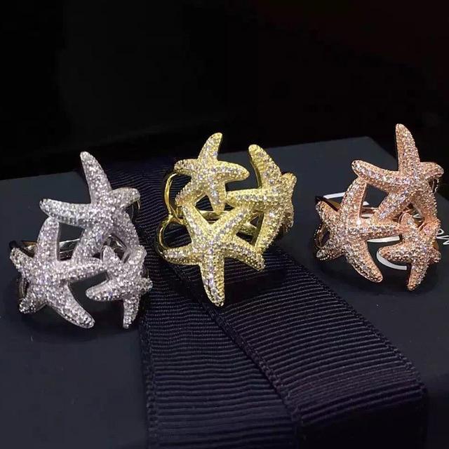 2017 Hot Luxury Jewelry S925 Sterling Silver Star Rings Full AAA Zircon Weddings Finger Rings for Women Starfish Knuckle Rings