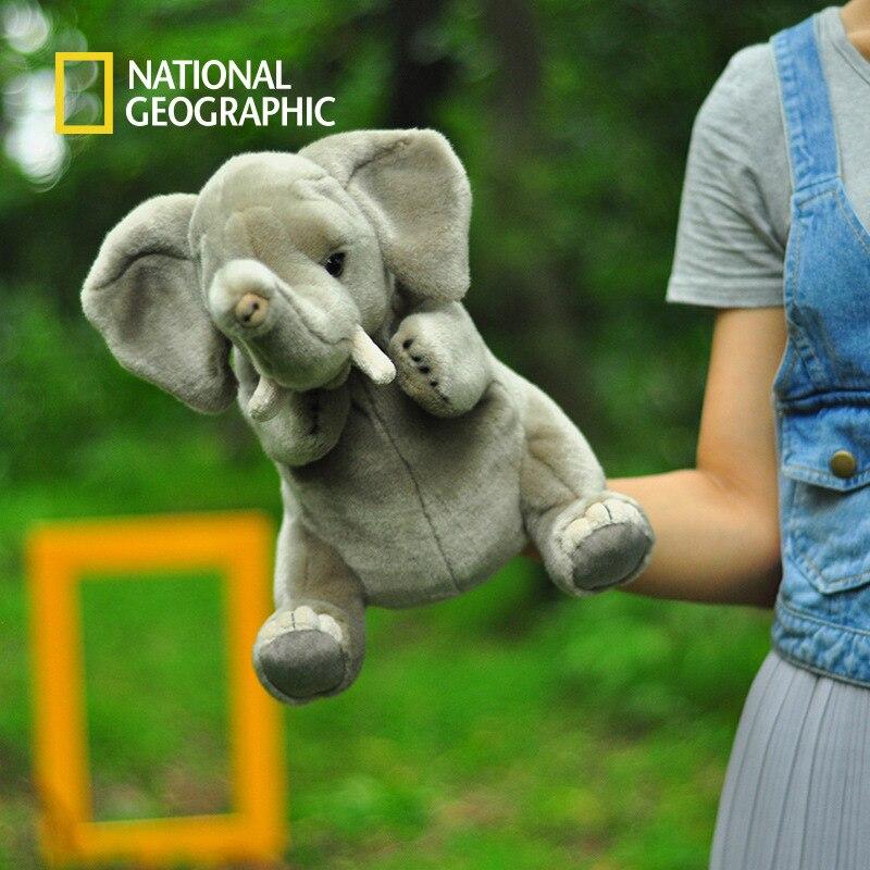 Geographic nacional original 25cm animal mão fantoches tigre panda leão presentes de aniversário brinquedos educativos para meninas e meninos