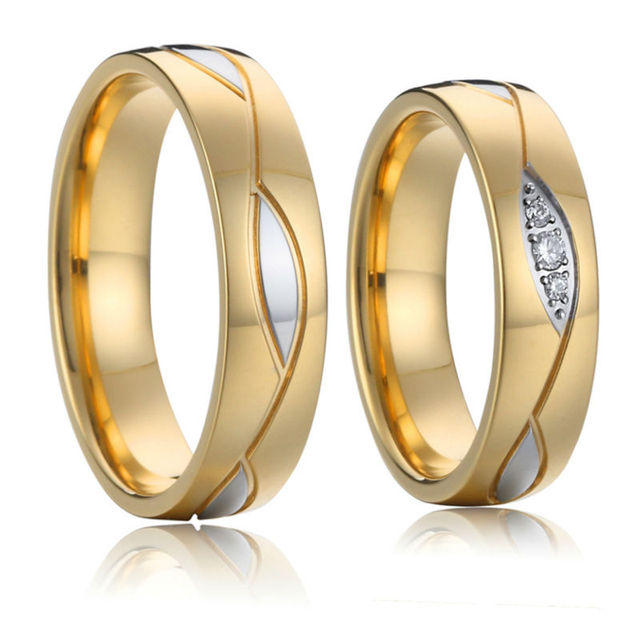 Alliances Wedding Band Couple Rings for women Vintage Gold color Men Jewelry Bridal Promise Anniversary Engagement Rings