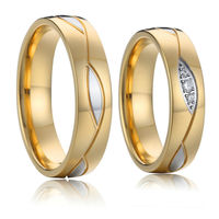 lovers gold color titanium stainless steel engagement couple wedding band rings pair for men and women set alliance anel ouro
