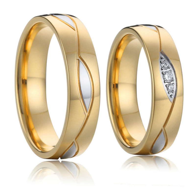 lovers gold color titanium stainless steel engagement
