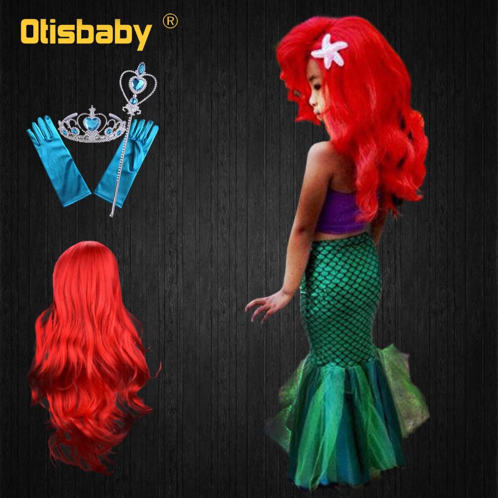 Summer 3 Piece Bikini Little Mermaid Princess Swimsuit Girl Costume Wig Necklace Kids Party Dress Gown Child Beach Holiday Dress